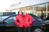 Tess and Jeni displaying the Mitsubishi 3-way inner jacket