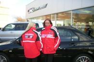 Tess and Jeni displaying the Mitsubishi 3-way jacket outer