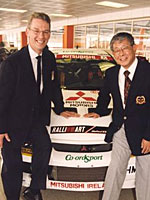 Peter Collinson with Dr R Mitamura, President of Ralliart Inc. at the opening ceremony of Ralliart UK's new premises in 2000