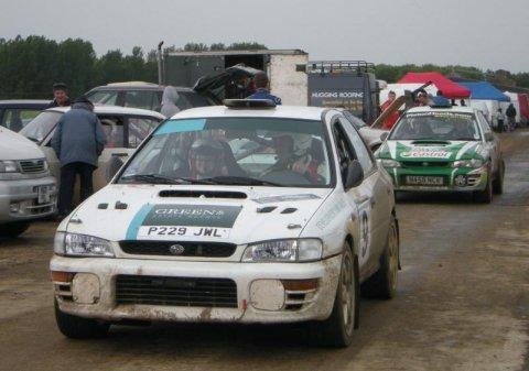 Winners Matthew Green and Louise Sworn in their Subaru Impreza